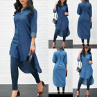 Внешний вид - Women's Blue Jeans Denim T-Shirt Long Sleeve Casual Loose Shirt Mini Dress