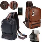 Внешний вид - Men's Leather Chest Sling Packs Shoulder Cross Body Bag Cycle Day Packs Satchel