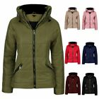 Ladies Womens Puffer Ribbed Faux Fur Bubble Padded Jacket Coat Top