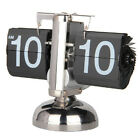 12 Digital Auto Flip Clock Retro Stainless Steel Gear Stand Desk Table Clocks