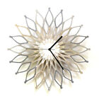 Fireworks III - large wooden sunburst wall clock in shades of silver by ardeola
