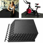 "Rubber Puzzle Mat Gym Fitness Floor Exercise Interlocking Rug Tiles 3/8"" Thick image"