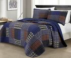 Chezmoi Collection 3-Piece Multi-Striped Reversible Cotton Bedspread Quilt Set image