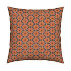 Retro Vintage Bloom Grey Orange Throw Pillow Cover w Optional Insert by Roostery