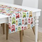 Table Runner London Travel Uk Bus Retro Great Britain Kids Cotton Sateen