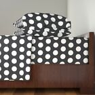 White Circles On Black Black And White 100% Cotton Sateen Sheet Set by Roostery