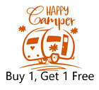 ~*~ 2 Happy Camper Vinyl Decal Sticker Rv Camping Camp Deer Yeti Monster