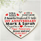 Wedding Anniversary Gifts PERSONALISED Wooden Heart Silver Golden 1st 25th 50th