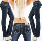 Women's Thick Stitched Flap Pockets Straight Denim Jeans - S/M/L/XL/XXL