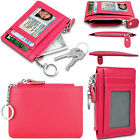 Genuine Leather RFID BLOCKING ID Window Card Holder Zipper Coin Purse+Key Chain image