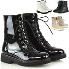 Womens Lace Up Ankle Boots Chunky Sole Ladies Retro Combat Goth Biker Shoes