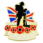 NEW RED POPPY LAPEL PIN ENAMEL BADGE 2018 BROOCH GOLD CROSS BRITISH POPPIES ARMY