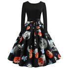US STOCK Halloween Women's Long Sleeve O Neck Printing Vintage Gown Party Dress