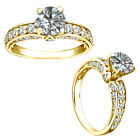 1 Carat White Round Diamond Halo Engagement Etrnity Bridal Ring 14K Yellow Gold