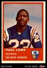 1963 Fleer #69 Paul Lowe Chargers EX/MT $28.5 USD on eBay