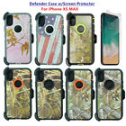 For Apple iPhone XS Max Defender Camo Case Cover w/Screen & Clip fits Otterbox