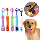 Dog Cat Tooth Grooming Three-Sided Toothbrush Pet Dental Care Cleaning Tool Note
