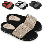 Womens Flat Sliders Studded Slip On Mule Ladies Summer Holiday Sandals Shoes 3-8