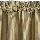 """Black and Tan Ticking Stripe Curtain Tiers Primitive Star 24"""" and 36"""""""