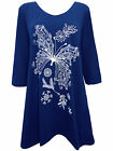 Plus Size Ivans (INP) Butterfly Print Stretch Jersey Tunic Top Blue 16 - 30/32