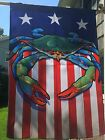 BLUE or RED Crab American Flag House 28x40 nautical Patriotic  Maryland Coastal