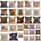 Happy Fall Thanksgiving Day Soft Linen Pillow Case Cushion Cover Home Decor L