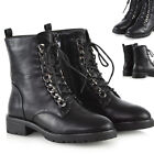 Womens Biker Ankle Boots Chain Lace Up Zip Ladies Combat Military Army Booties