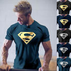 Men NEW Superman Workout Gym T-Shirt Bodybuilding Fitness Muscle Casual Tee image