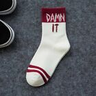 Women Cotton Socks Letters Printing Cool Hip-Pop Casual Crew Socks 1 Pair