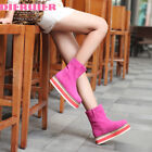 Ladies Hot Mid High Wedge Heel Pull On Ankle Boots Creepers Fashion Shoes Casual