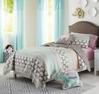 ELEPHANT STRIPE QUILT SET Twin or Queen Reversible Animal Pink/Grey/Turquoise