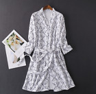 Lightweight Unisex Waffle Weave Spa Robe Bathrobe 100% Cotton White Floral
