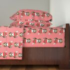 Valentine Beagle Dog Heart Paws Pink Red Cotton Sateen Sheet Set by Roostery