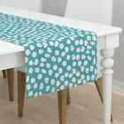 Table Runner Turquoise Dots Aqua Dots Inky Dots Turquoise Dots Dot Cotton Sateen