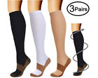 3 Pairs Copper Infused Compression Socks 15-20mmHg Graduated UNISEX S-XXL