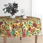 Round Tablecloth International Exotic James Bond Red Yellow Orange Cotton Sateen $89.0 USD on eBay