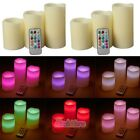 """6x 4""""5""""6"""" Colors Gradual Changing LED Flameless Pillar Candles with Remote Timer"""