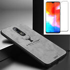 For OnePlus 6T Slim Fabric Texture Leather Shockproof Case Cover+ Tempered glass