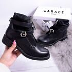 New Women Ankle Boot Stud Doc Pit Military Ladies Grunge Zip Lycra Shoe Size