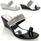 LADIES WEDGE HEEL TOE POST DIAMANTE SILVER BLACK WOMENS PARTY SANDALS SHOES SIZE