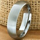 6mm Tungsten Carbide Men's Wedding Band Comfort Fit Ring Brushed Silver Dome