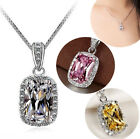 Silver Necklace 18k White Gp Crystal Pendant Aaa Cz Chain Fashion Jewelry Gifts
