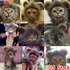 Pet Dog Hat Costume Lion Mane Wig For Cat Dog Halloween Dress Up With Ears New