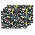 Cloth Placemats Cat Whimsical Text Animals Kitty Blue Cats Set of 4