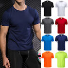 Men Compression T-Shirt Crew Neck Short Sleeve Slim Fit Muscle Shirts Fitness image