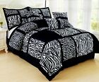 Black & White Safari Animal Leopard Print Comforter Set - 7 Piece Suede