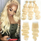 UK Blonde 3Bundles With Lace Closure Malaysian Virgin Human Hair Thick Weft E961
