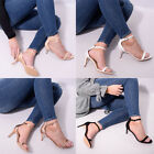 Womens Ladies Barely There Mid Heel Strappy Party Sandal Stiletto Shoe Size