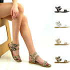 Womens Double Strap Ankle Strap Studded Sandals Ladies Holiday Summer Flat Shoes
