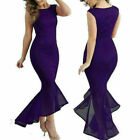 Long Bodycon Dress Women Lace Formal Wedding Fishtail V Neck Evening Ball Gown